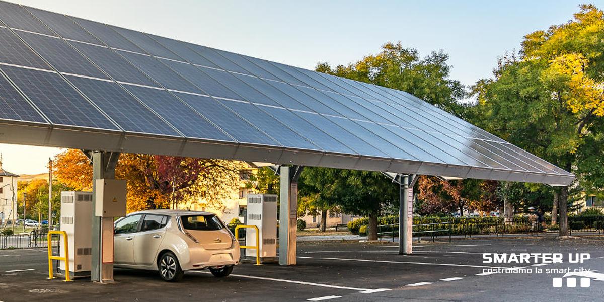 Pensilina fotovoltaica e stazione di ricarica per veicoli elettrici Smarter Up